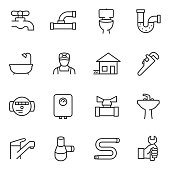 Plumbing icon set. Sewerage icons collcetion. Line with Editable stroke