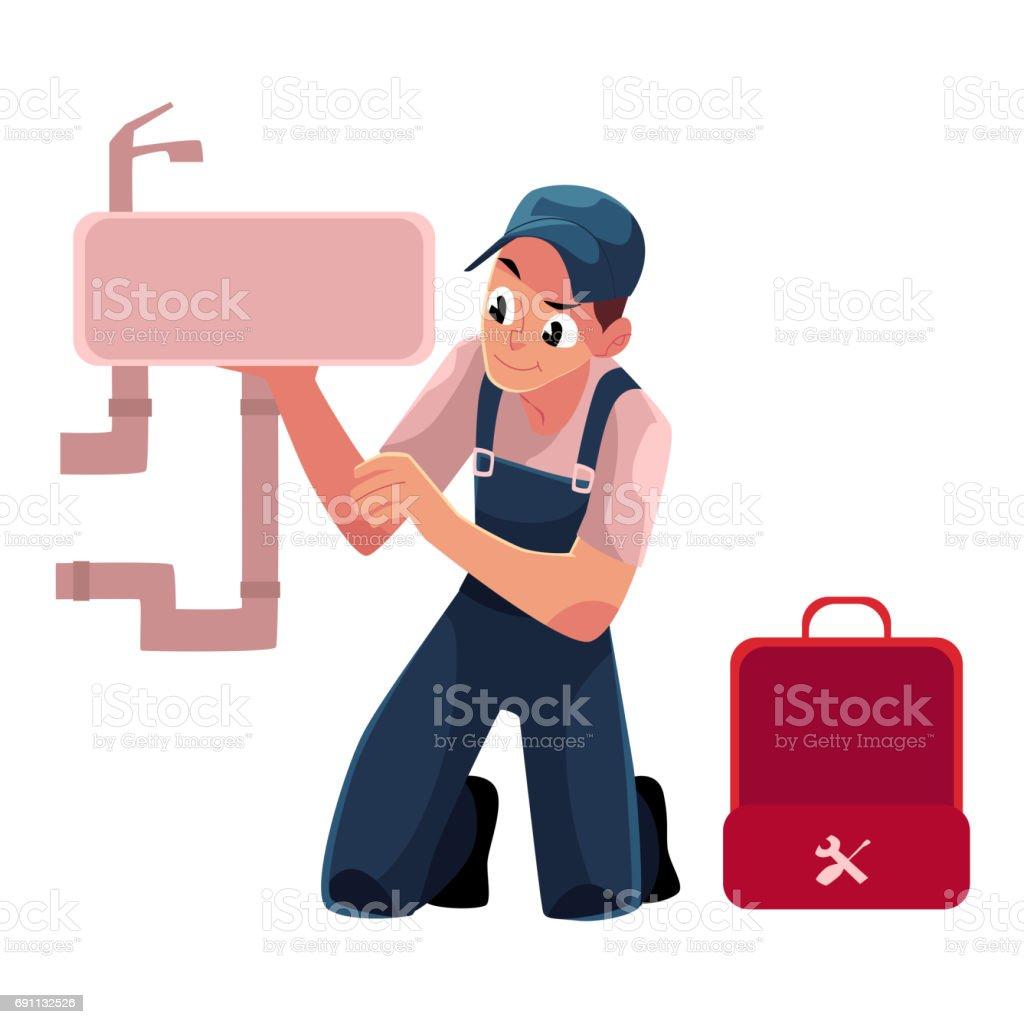 Ilustración de Especialista En Plomería Plomero Reparación De ...