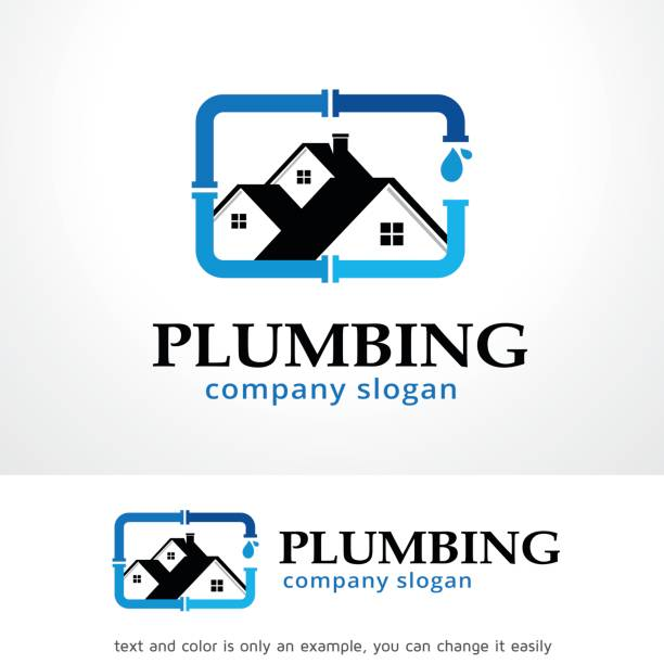 plumbing symbol template design vector, emblem, design concept, creative symbol, icon - plumber stock illustrations, clip art, cartoons, & icons