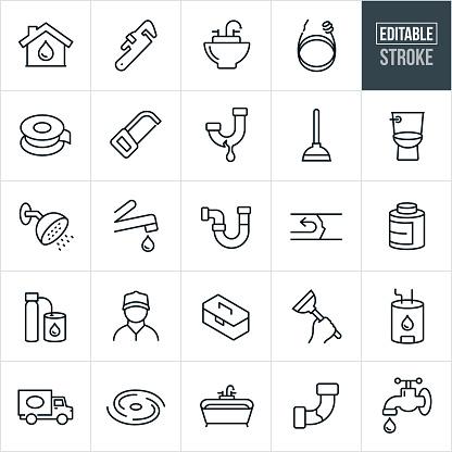 Plumbing Thin Line Icons - Editable Stroke