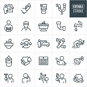 A set of business plumbing icons that include editable strokes or outlines using the EPS vector file. The icons include plumbers, a plumber at a residential house, hand holding a pipe wrench, toilet, broken pipe, plumber with tool and tool belt, filled bathtub, clogged pipe, kitchen faucet, filled sink, plumbers van, fixing leak, leaky pipe, calendar with appointment, person sinking in water, shower, plumber holding plunger, person calling a plumber, plumber holding a pipe wrench and a house sinking in water to name a few.