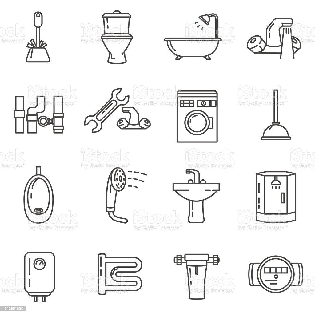 plumbing thin line icons set. bathroom and toilet – Vektorgrafik