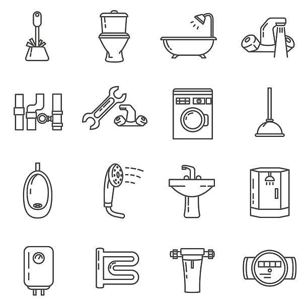 plumbing thin line icons set. bathroom and toilet - badezimmer stock-grafiken, -clipart, -cartoons und -symbole