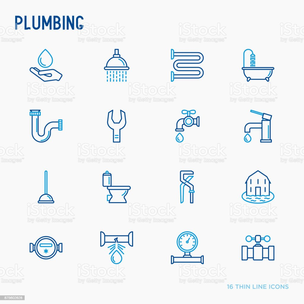 Plumbing thin line icons set of bathtub, shower, pipe, wrench, drop, leakage, meter, plunger. Modern vector illustration. vector art illustration