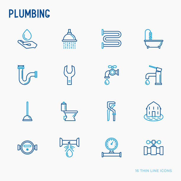 plumbing thin line icons set of bathtub, shower, pipe, wrench, drop, leakage, meter, plunger. modern vector illustration. - plumber stock illustrations, clip art, cartoons, & icons