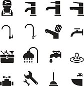 Plumbing & tools Icons set