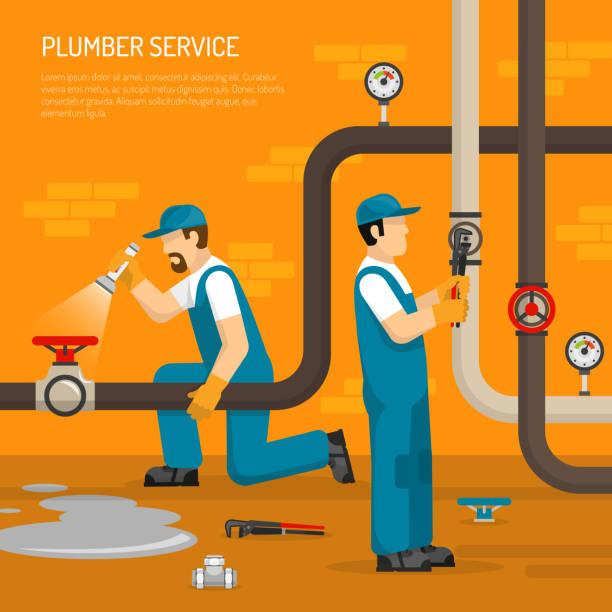plumbing work illustration - tap water stock illustrations