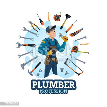 Plumber profession, man and work equipment. Vector emergency plumbing repair services and hand tools. Lunger and screwdriver, pencil and measuring meter, hammer, plunger, wrench and hand saw, spanner
