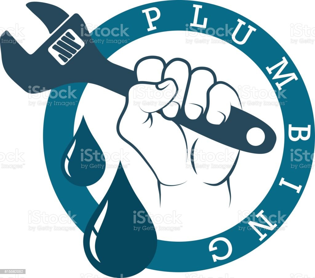 Plumbing wrench in hand vector art illustration