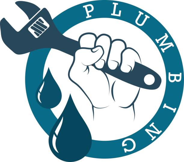 plumbing wrench in hand - plumber stock illustrations, clip art, cartoons, & icons