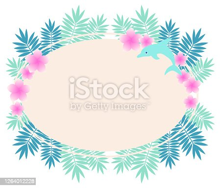 Oval and tropical frame illustration of plumeria and dolphin.