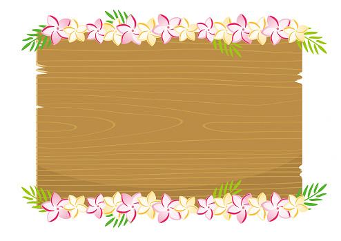Plumeria flower on wood board illustration