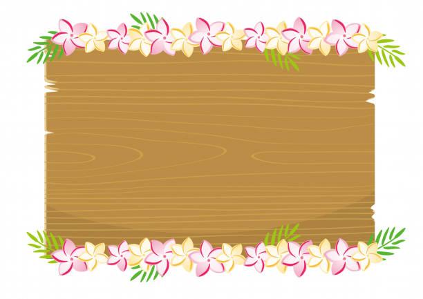plumeria flower on wood board illustration - hawaiian lei stock illustrations, clip art, cartoons, & icons