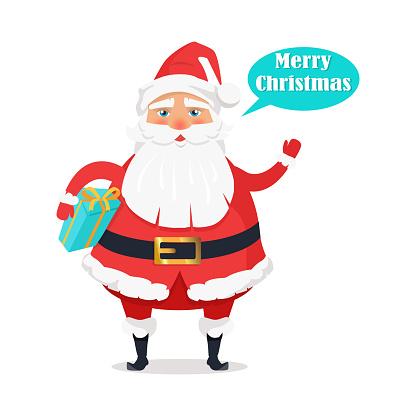 Plump Santa with Gift Box Says Merry Christmas