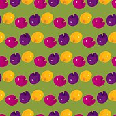 Pink, purple and yellow plums pattern. Vector seamless. EPS 8.
