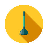 Plunger Flat Design Cleaning Icon with Side Shadow