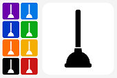 Plunger Icon Square Button Set. The icon is in black on a white square with rounded corners. The are eight alternative button options on the left in purple, blue, navy, green, orange, yellow, black and red colors. The icon is in white against these vibrant backgrounds. The illustration is flat and will work well both online and in print.