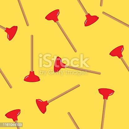 Vector illustration of plungers in a repeating pattern against a yellow background.