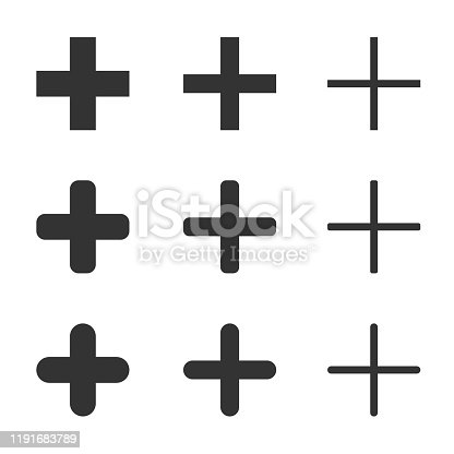 Plus, add, zoom in, cross, positive, icon Shape set. Hospital first aid logo symbol sign collection. Web app ui button. Vector illustration image. Isolated on white background.