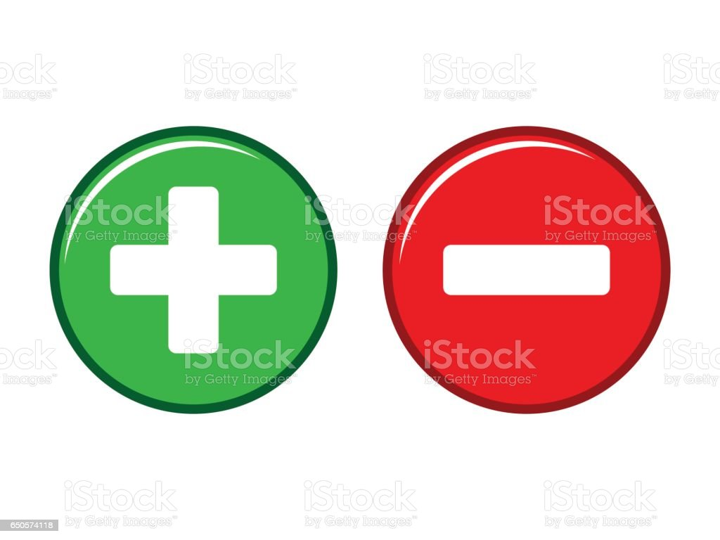 Plus and minus button vector vector art illustration
