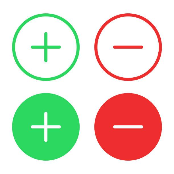 illustrazioni stock, clip art, cartoni animati e icone di tendenza di icona più e meno design piatto su sfondo bianco. - segno meno