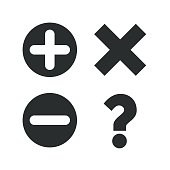 Plus and minus icons. Question FAQ symbol
