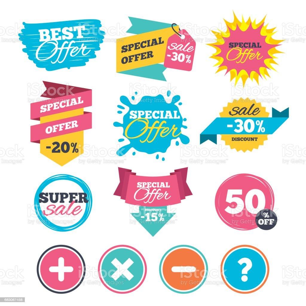 Plus and minus icons. Question FAQ symbol. plus and minus icons question faq symbol - arte vetorial de stock e mais imagens de aplicação móvel royalty-free