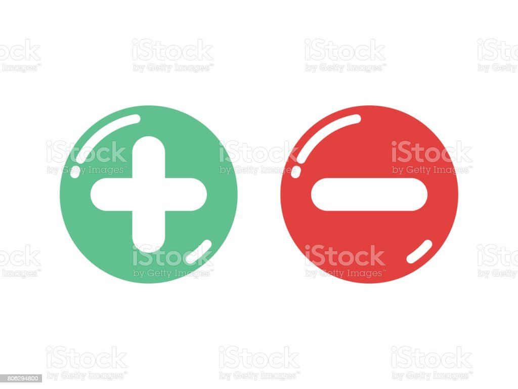 Plus and minus shiny button vector