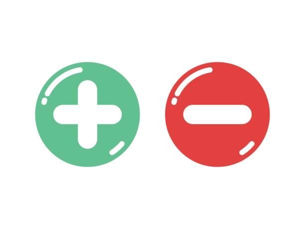 illustrazioni stock, clip art, cartoni animati e icone di tendenza di plus and minus shiny button vector - segno meno