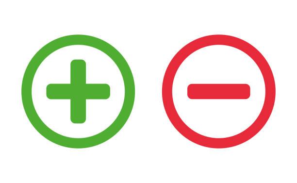illustrazioni stock, clip art, cartoni animati e icone di tendenza di più e meno set di segni. vettore - segno meno
