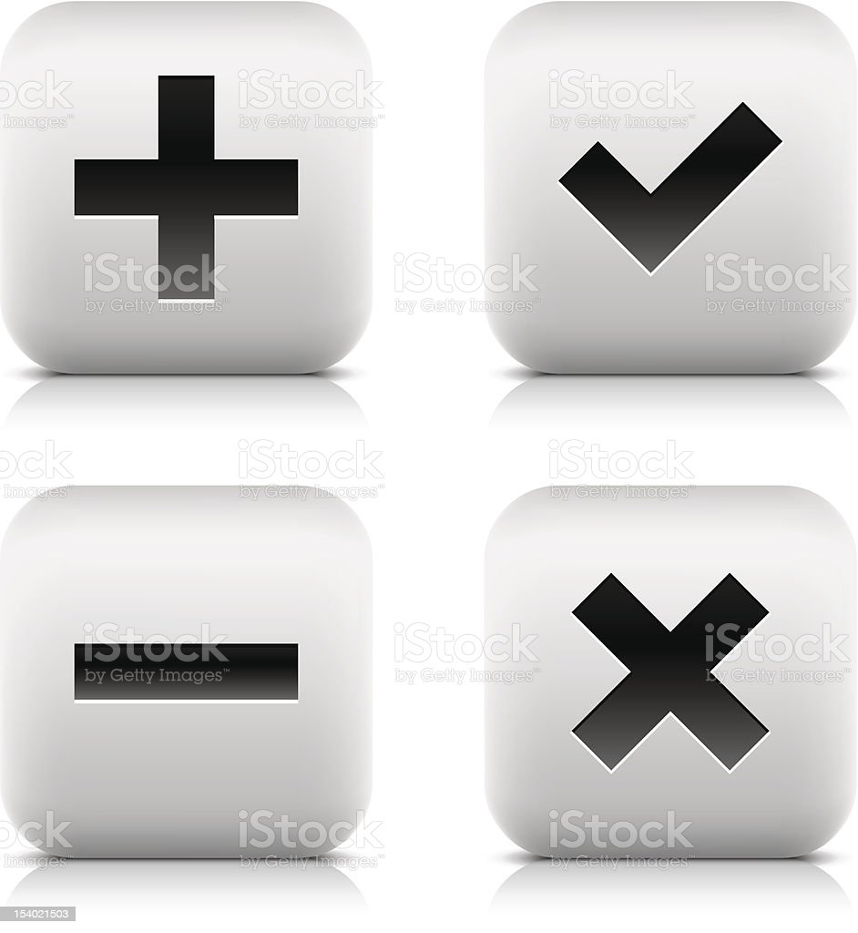 Plus, Check Mark, Minus, Delete icons. Square button black sign royalty-free stock vector art