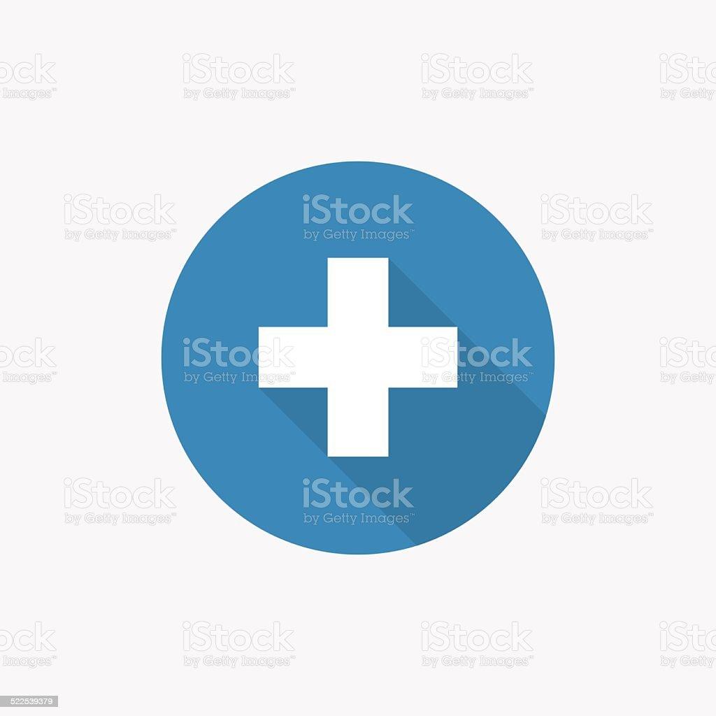 plus Flat Blue Simple Icon with long shadowvectorkunst illustratie