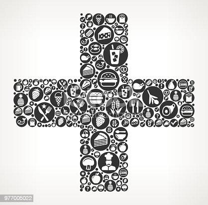 istock Plus Food Black and White Icon Background 977005022