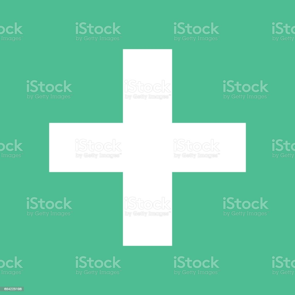 Plus Icon Addition Square Sign Button Flat Style Stock Vector Art