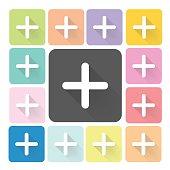 Plus Icon color set vector illustration