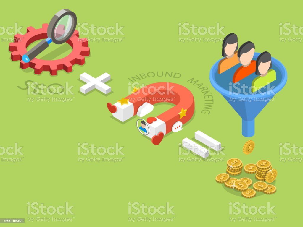 SEO plus inbound marketing flat isometric vector. vector art illustration