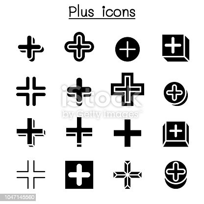 Plus, Positive , Cross Add icon set