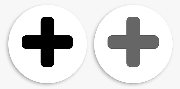 Plus Sign Black and White Round Icon. This 100% royalty free vector illustration is featuring a round button with a drop shadow and the main icon is depicted in black and in grey for a roll-over effect.