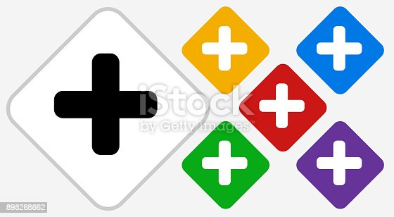 Plus Sign Color Diamond Vector Icon. The icon is black and is placed on a diamond vector button. The button is flat white color and the background is light. The composition is simple and elegant. The vector icon is the most prominent part if this illustration. There are five alternate button variations on the right side of the image. The alternate colors are red, yellow, green, purple and blue.