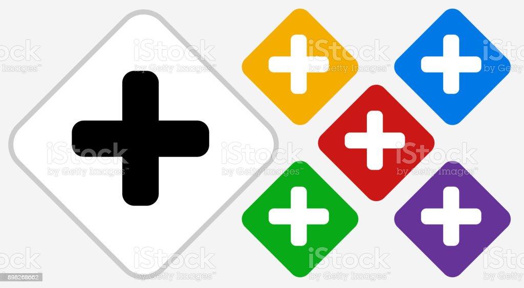Plus Sign Color Diamond Vector Icon vector art illustration