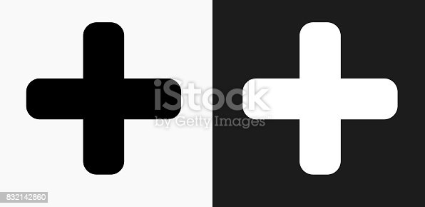 Plus Sign Icon on Black and White Vector Backgrounds. This vector illustration includes two variations of the icon one in black on a light background on the left and another version in white on a dark background positioned on the right. The vector icon is simple yet elegant and can be used in a variety of ways including website or mobile application icon. This royalty free image is 100% vector based and all design elements can be scaled to any size.
