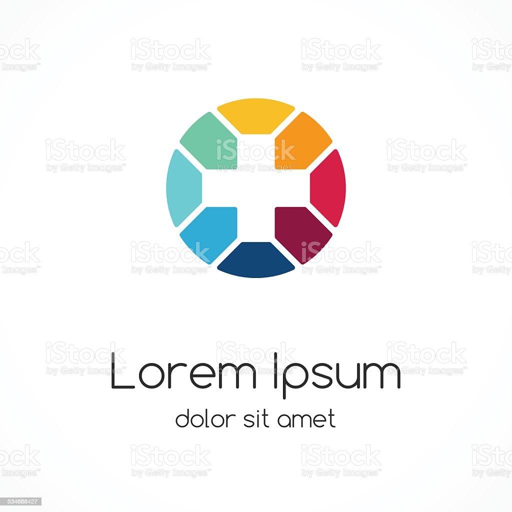 Plus sign logo. Medical healthcare hospital symbol. vector art illustration