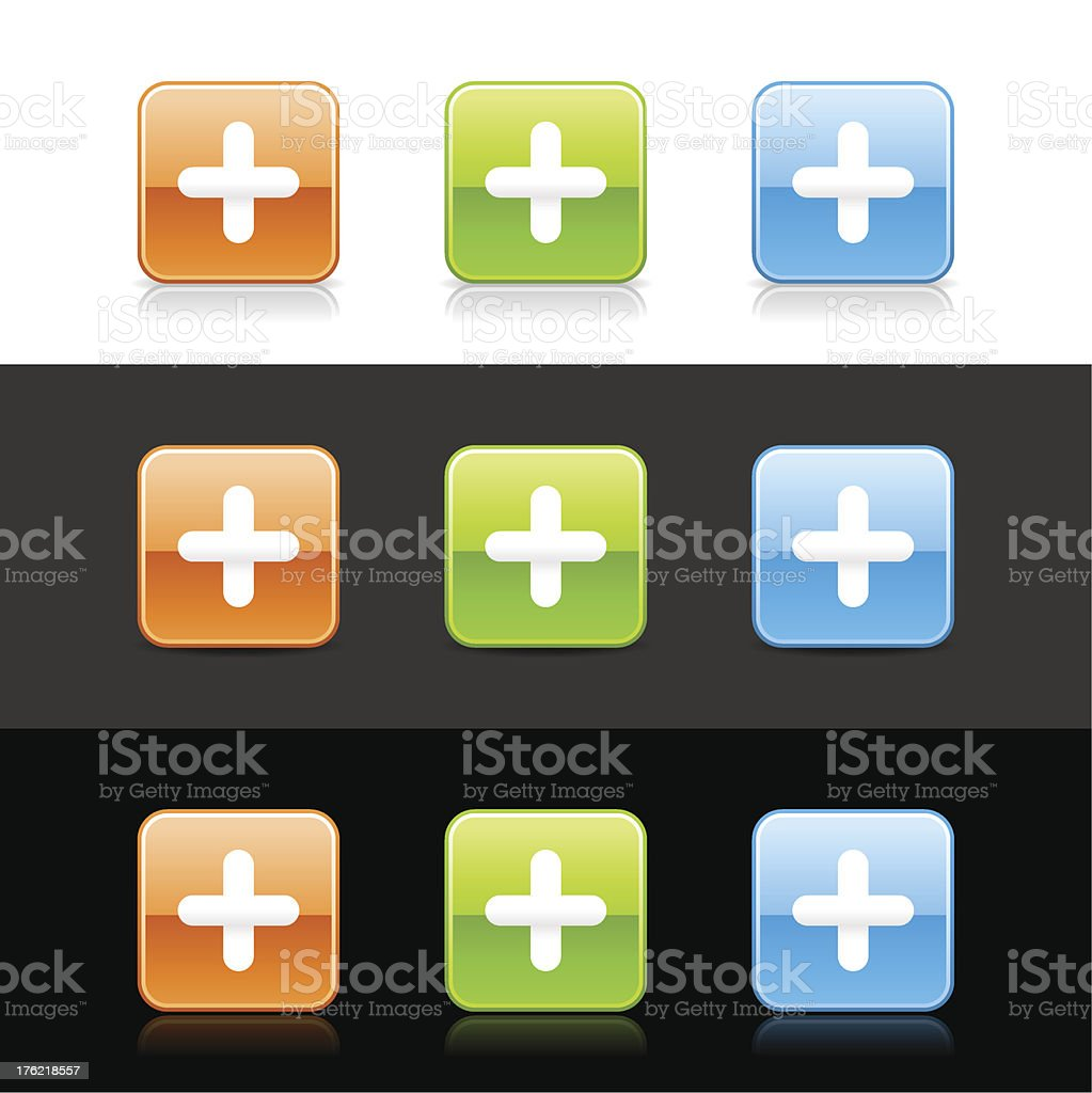 Plus sign square icon orange green blue button shadow reflection royalty-free stock vector art