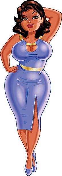 Plus Size Black Woman vector art illustration