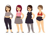 Plus size fashion. Young and pretty cartoon style girl wearing cute clothes.