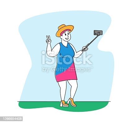 Plus Size Female Character Making Selfie. Fatty Woman Shooting Photo Happily Smiling, Posing and Gesturing Victory Symbol Outdoors. Girl Make Photographing on Smartphone. Linear Vector Illustration
