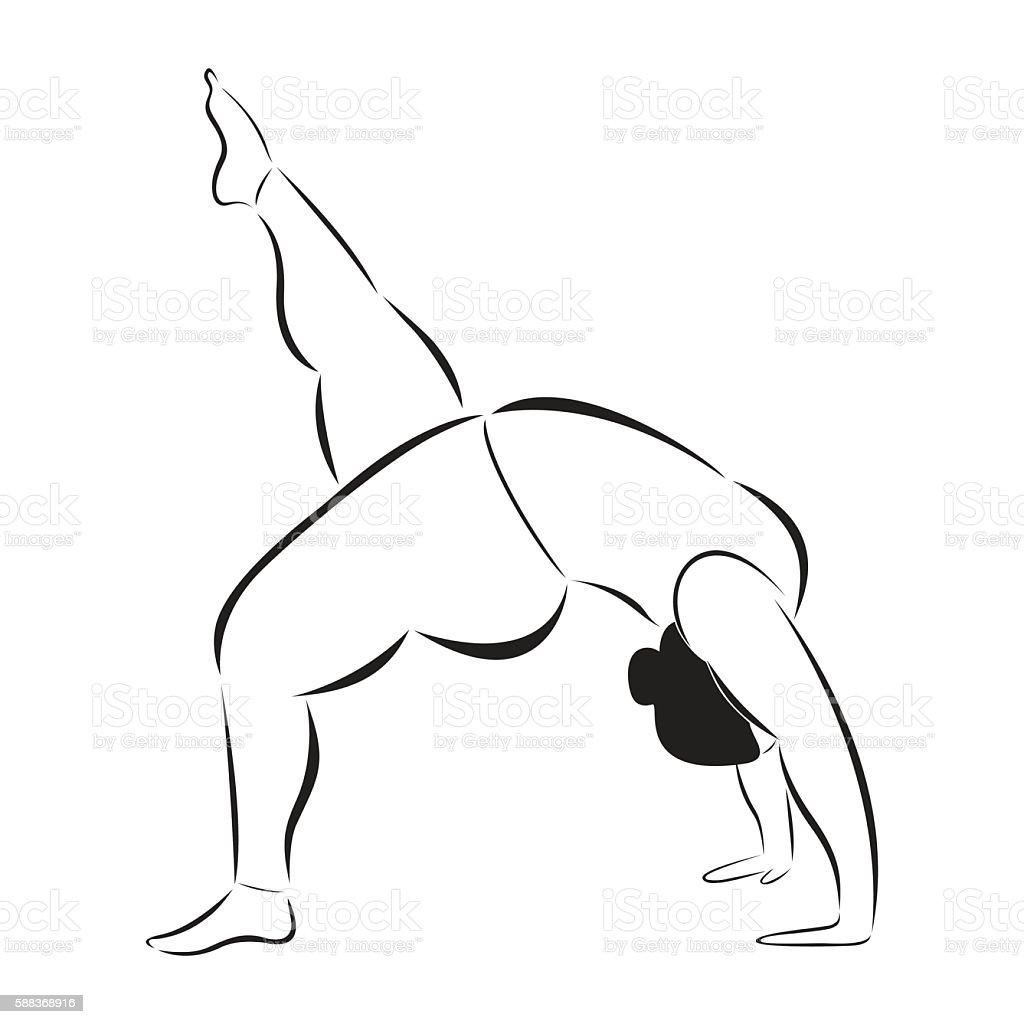 Plus size flexible sporty woman doing yoga fitness. vector art illustration