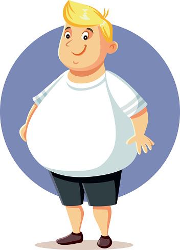 Plus Size Overweight Man Vector Cartoon