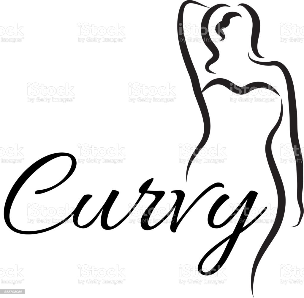 Plus size woman. Curvy woman symbol, logo. Vector illustration vector art illustration