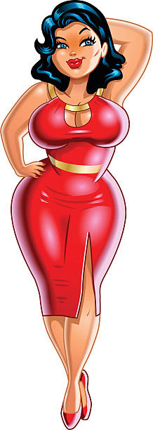 Plus Size Woman vector art illustration